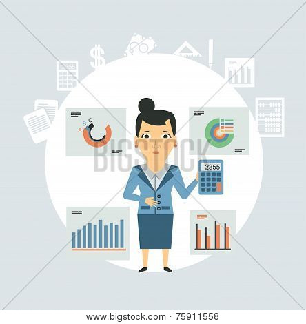 Accountant considers on the calculator of graphs illustration