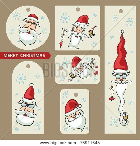 Christmas tags.Santa Claus faces set