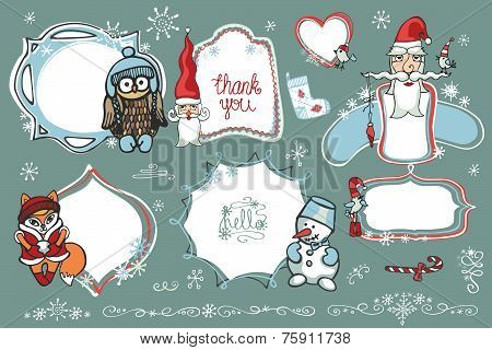Christmas Doodles.Labels,Badges with santa,animal,birds