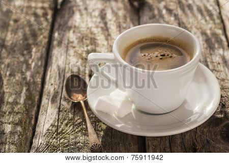 Coffee Cup Black Wooden Board Brown Pines White
