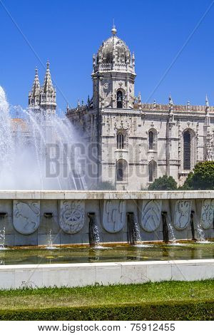 Jeronimos monastery seen from the Imperio garden in Lisbon, Portugal. Classified as UNESCO World Heritage as a masterpiece of the Manueline art.