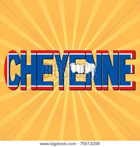 Cheyenne flag text with sunburst illustration
