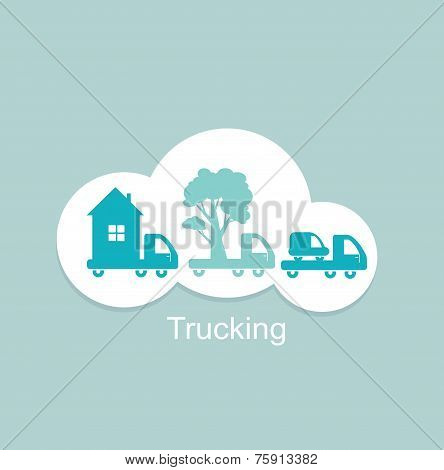trucking houses, cars, trees icon