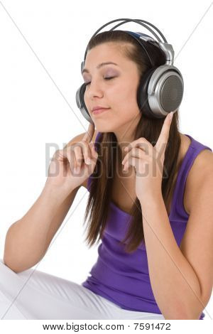 Happy Teenager Woman Enjoy Music With Headphones
