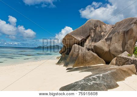 Boulder Rock Formations on Sandy Beach, Anse Source D'argent, La Digue, Seychelles