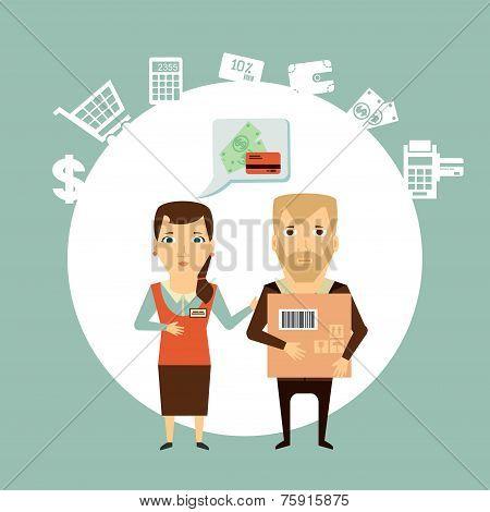 vendor serves customers illustration