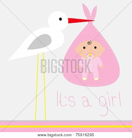 Baby Shower Card With Stork Its A Girl Flat