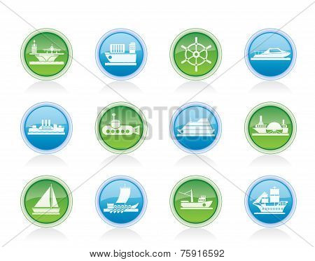 Vector different types of boat and ship icons