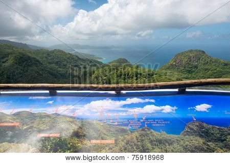 Unique View from Mission Lodge Lookout over the coastline and rainforest of Mahe Island, Seychelles