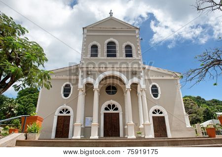 Facade of Architectural Roman Catholic Cathedral of Immaculate Conception at Victoria, Mahe Island, Seychelles.