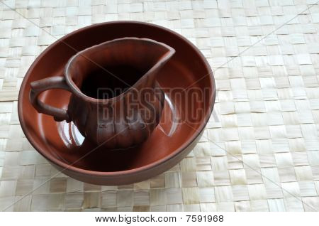 Wet clay pot in basin