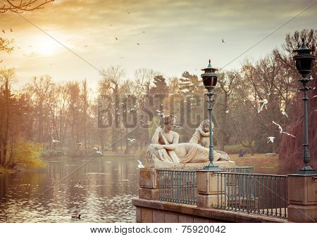 Allegory of the Visla river, statue in Lazienki Park (Royal Baths Park), Warsaw, Poland