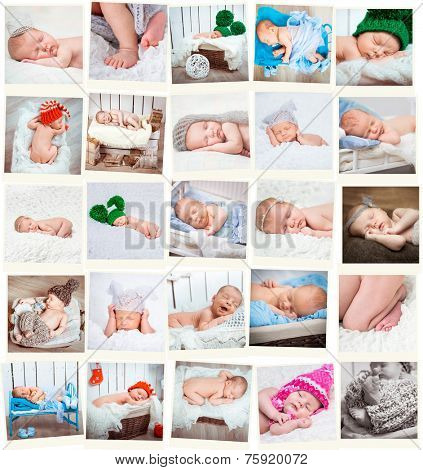 Set  of a sweet newborn babies photos