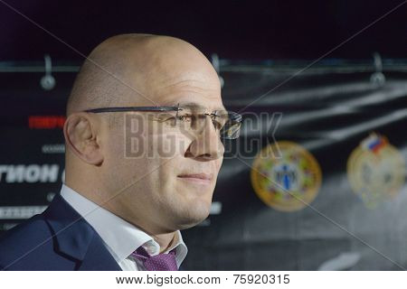 NOVOSIBIRSK, RUSSIA - NOVEMBER 8, 2014: Olympic and World Champion in freestyle wrestling Arthur Taymazov during the Friendship Cup. The competitions include 10 kinds of martial arts
