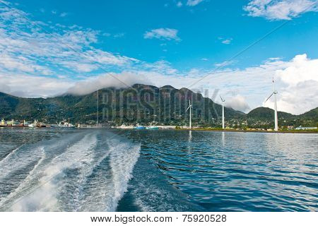 Natural Attraction of Beautiful Turquoise Sea Water at Victoria Seychelles with Large Green Mountains View Afar.
