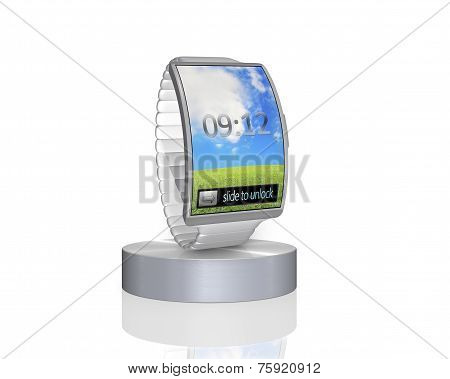 Grey Curve Screen Smartwatch On Showcase