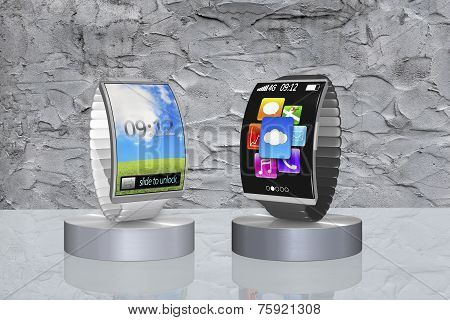 Pair Colorful Curved Screen Smartwatch On Showcase