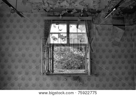 Old Window In An Abandoned Building