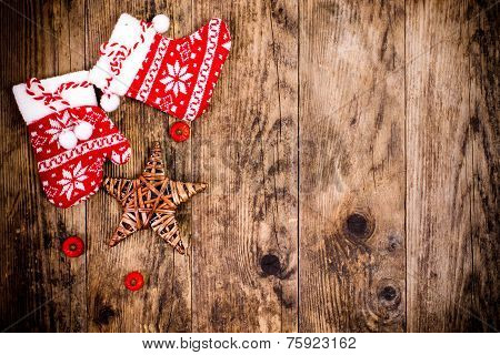 Christmas Decoration, Wooden Background.