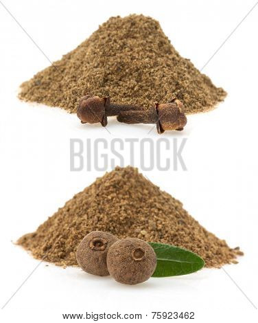 allspice and cloves powder isolated on white background