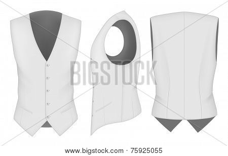 Men's waistcoat for business men (front, back and side views). Formal work wear. Vector illustration.
