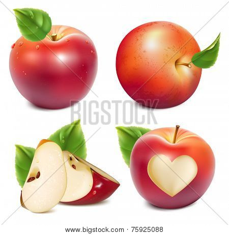 Red apples and apples slices with green leaves and water drops. Photo-realistic vector illustration.
