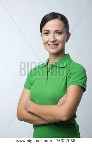 Smiling Woman In Green Polo T-shirt