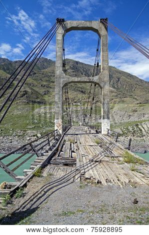 Abandoned Bridge Over The River Katun, Altai.