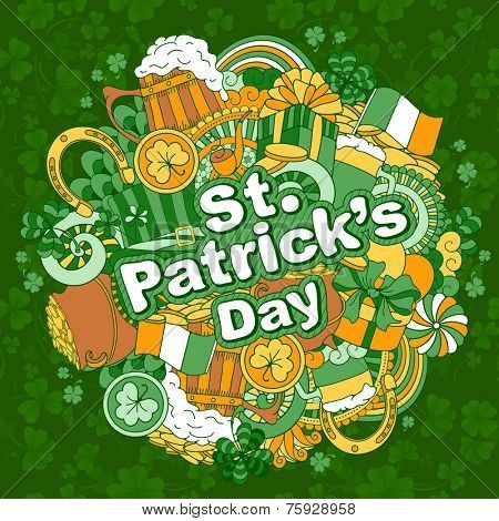 Fun, bright and original Saint Patricks Day greeting, made in the doodle style. Vector.