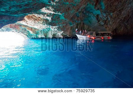 Boat With Tourists In The Blue Cave, Montenegro