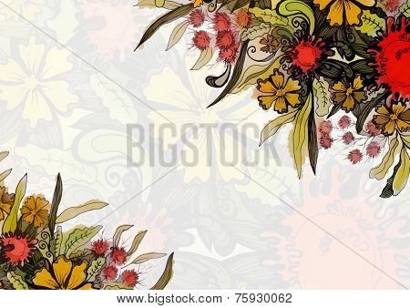 Floral greeting card with place for text