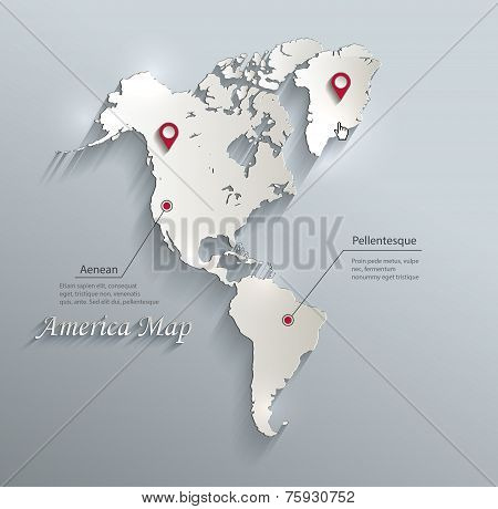 America map blue white card paper 3D vector infographics