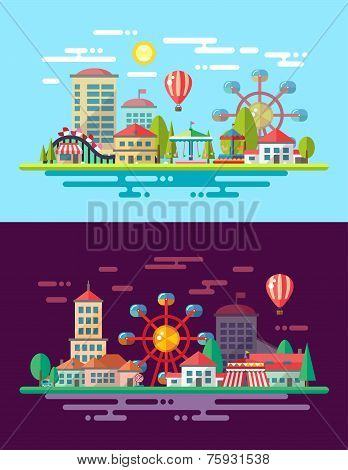 Modern flat design conceptual city illustration with carousels
