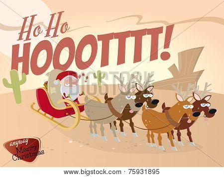 funny cartoon santa claus in desert