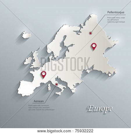 Europe map blue white card paper 3D vector infographics