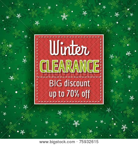 Green Christmas Background And  Label With Sale Offer