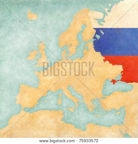 Map Of Europe - Russia (vintage Series)