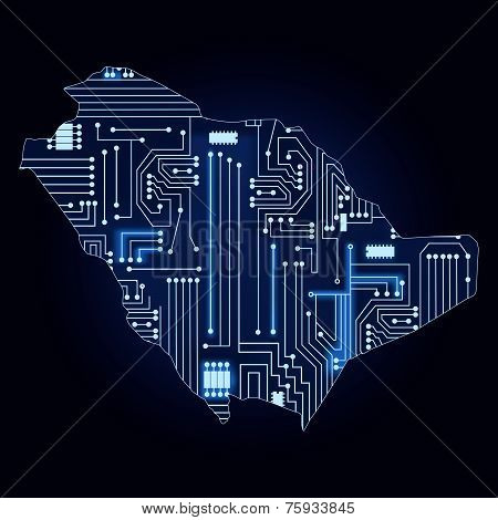 Map Of Saudi Arabia With Electronic Circuit