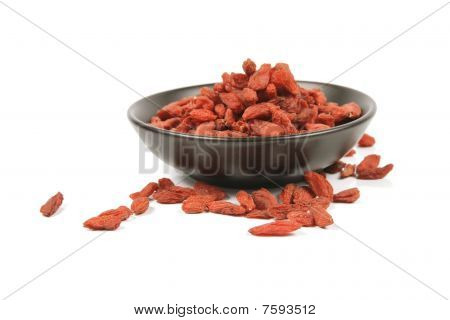 Goji Berries In A Black Dish