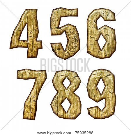 Unique woody letters set isolated on white.