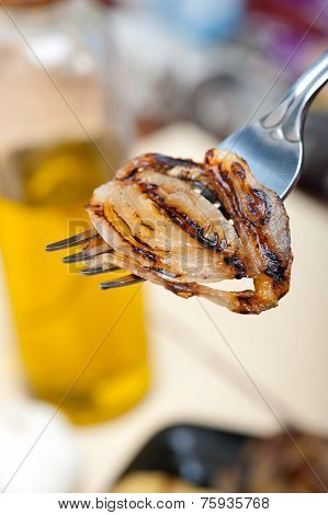 Grilled Onion On A Fork