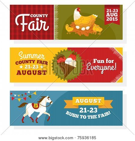 County fair vintage banners vector illustration