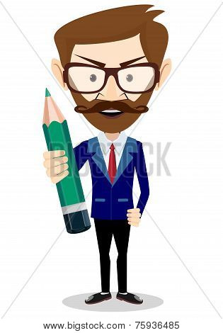 Smiling cartoon Businessman hipster in jacket with a big green pencil
