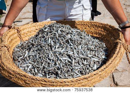 Dry Fish In The Market In Tunisia
