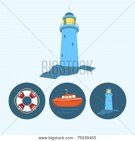 Set Icons With   Colored Boat, Lifebuoy , Lighthouse, Vector Illustration