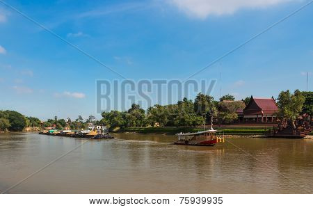 Tugboat And Barge Carry Sand Along The Chaophraya River