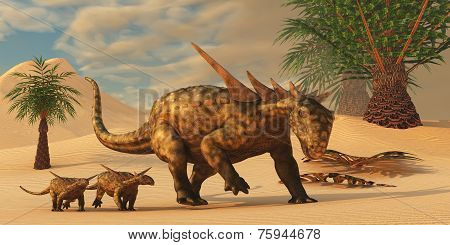 Sauropelta Dinosaur In Desert