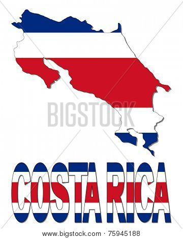 Costa Rica map flag and text vector illustration