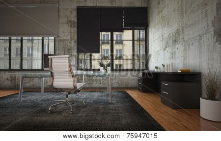 3D Rendering of Stark modern office interior with grey walls, minimalist furnishing and large feature windows with blinds overlooking a commercial urban building