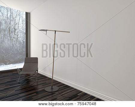 3D Rendering of Chair under a modern lamp in a stark living room interior with a wooden floor, white brick wall and large floor-to-ceiling window overlooking a winter garden